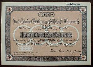 German Car Manufacturer AUDI 100 Reichsmark Chemnitz 1932 uncancelled - Deutschland, Deutschland - German Car Manufacturer AUDI 100 Reichsmark Chemnitz 1932 uncancelled - Deutschland, Deutschland