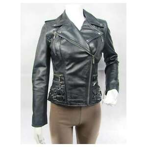Biker Jacket Ladies Slim Leather Short Zip Stud Tight Napa Bike Fitted Blue gqq71nzT