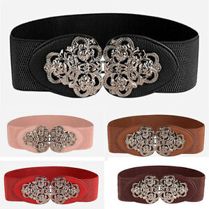 New Fashion Women Vintage Elastic Buckle Wide Waist Belt Dress Metal Waistband