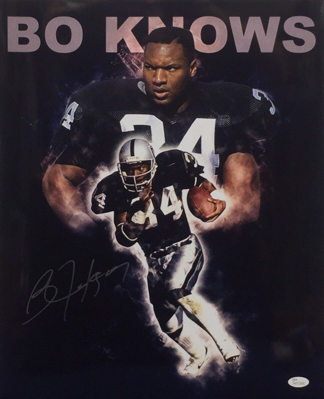 Bo Jackson Signed Custom Bo Knows Metallic 16x20 Photo Raiders Football JSA
