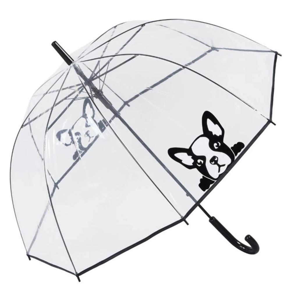 Susino Printed Auto Clear Dome Umbrella - 'Frenchie' Peeping French Bulldog