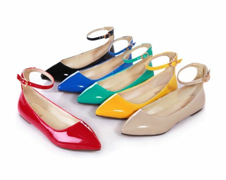 Womens Patent Leather Mary Janes Flat Closed Pointy Toe Ankle Strap Shoes Sandal