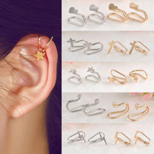 1 Paire Boucle D/'oreille Cartilage Strass Clip Hélix Perle Cristal Faux Piercing