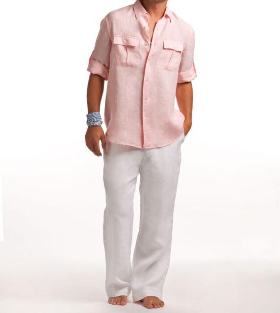 exquisite design release date united states NWT RALPH LAUREN Black Label 30 X unhemmed white linen pants slacks mens  beach