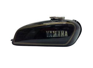 Yamaha-RX100-RX125-Schwarz-Benzin-Tank-mit-Chrome-LID-Cap-amp-Tap