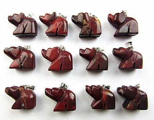12PCS Wholesale unique red jasper carved bear pendant bead Vk4596