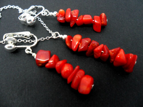 NEW. A PRETTY RED CORAL CHIPS  NECKLACE AND CLIP ON EARRING SET