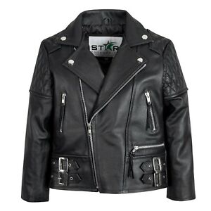 Kids-Leather-Biker-Jacket-Brando-Motorcycle-Quilted-Boys-Girls-4-To-13-Years