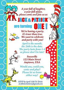 Image Is Loading Dr Seuss Birthday Invitation Invitations Thing 1 And