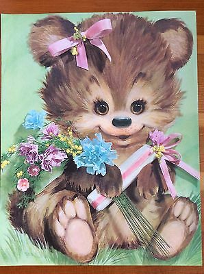 "Vtg Retro KIDS ART PRINT Happy Bear Flowers Green Kitsch Paper 60s 70s 14"" x 11"""