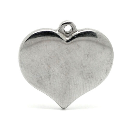 Stainless New Steel Charm Pendants Heart Pattern Sliver Tone Accessories
