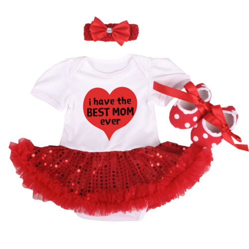 Baby Girl I Have the Best Mom Heart Romper Sequins Tutu Dress Outfits Clothes