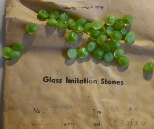 36 Vintage Glass Rhinestones Round Green Moonstone Dome PB Germany 40ss H4-7