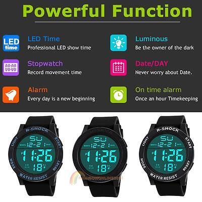 Men Chic Waterproof LED Electronic Date Stainless Steel Rubber Sport Wrist Watch