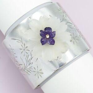 Vtg-Victorian-Sterling-Silver-Upcycle-Rock-Crystal-Amethyst-Flower-Cuff-Bracelet
