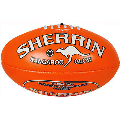 "SHERRIN BALL ORANGE ""GLOW IN THE DARK"" SOFT TOUCH AFL BALL FOOTBALL"