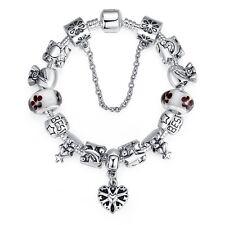 New European Silver Bracelet best friend for Women With heart charms DIY 20cm