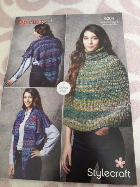 Stylecraft 9304 Knitting Pattern Womens Cape & Reversible Poncho Carnival Chunky