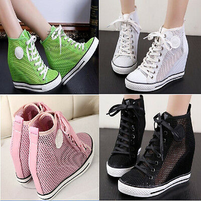 Womens Mesh Hollow Out Hidden Lace Up High Top Fashion Wedge Heel Sneakers Shoes