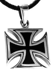 Iron-Cross-Sterling-Silver-925-Band-Necklace-Pendant-NEW-Iron-Cross-No-333