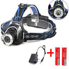 6000LM LED Focus Headlight Head Lamp + 2Pcs Batteries + Charger