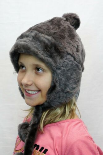 NWT 11 Colors GIRLS POM-POM REAL SHEEPSKIN SHEARLING LEATHER Hat Winter 3 Sizes