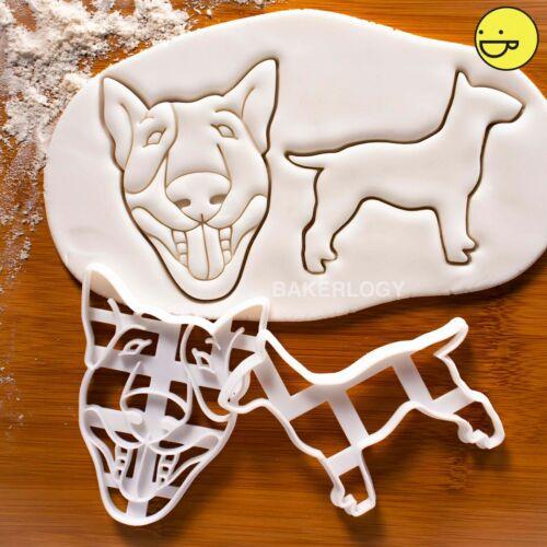 Lot de 2 Anglais Bull Terrier emporte-piècesChien Visage ANNIVERSAIRE BISCUIT TRAITE