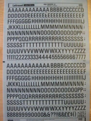1 x Letraset Rub-on lettres noires /& Numéros 48 PT univers 57 FEUILLE Nº 358
