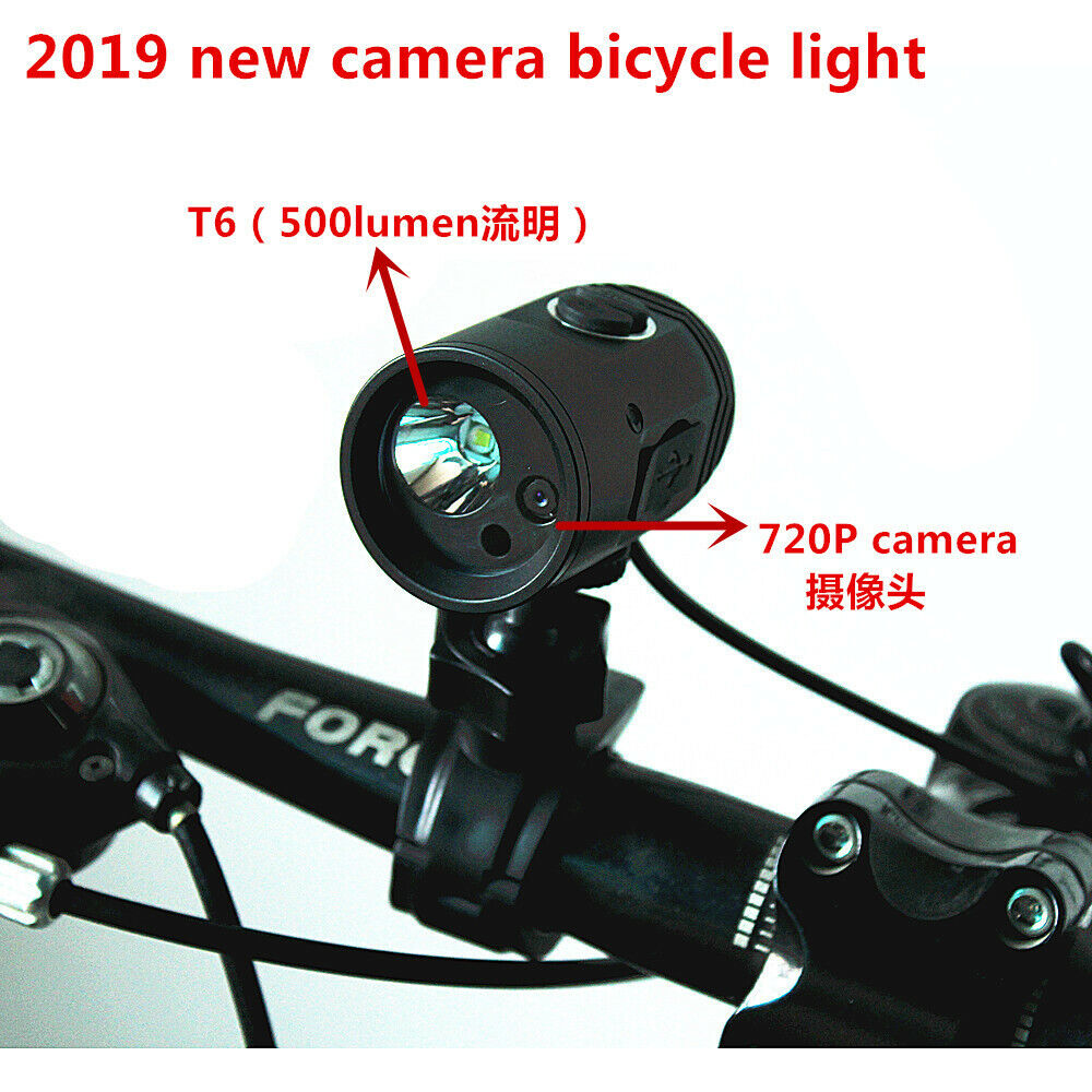Bike Camera Bicycle Light 720P Camera  T6 Safety Bicycle Record USB Charge 2019  factory direct
