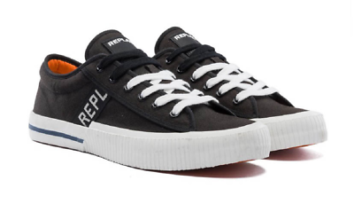Replay Moskow Black Gum Mens Canvas Trainers Shoes