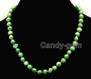 8-9mm-Baroque-Green-Natural-Freshwater-Pearl-Necklace-for-Women-Chokers-17-039-039