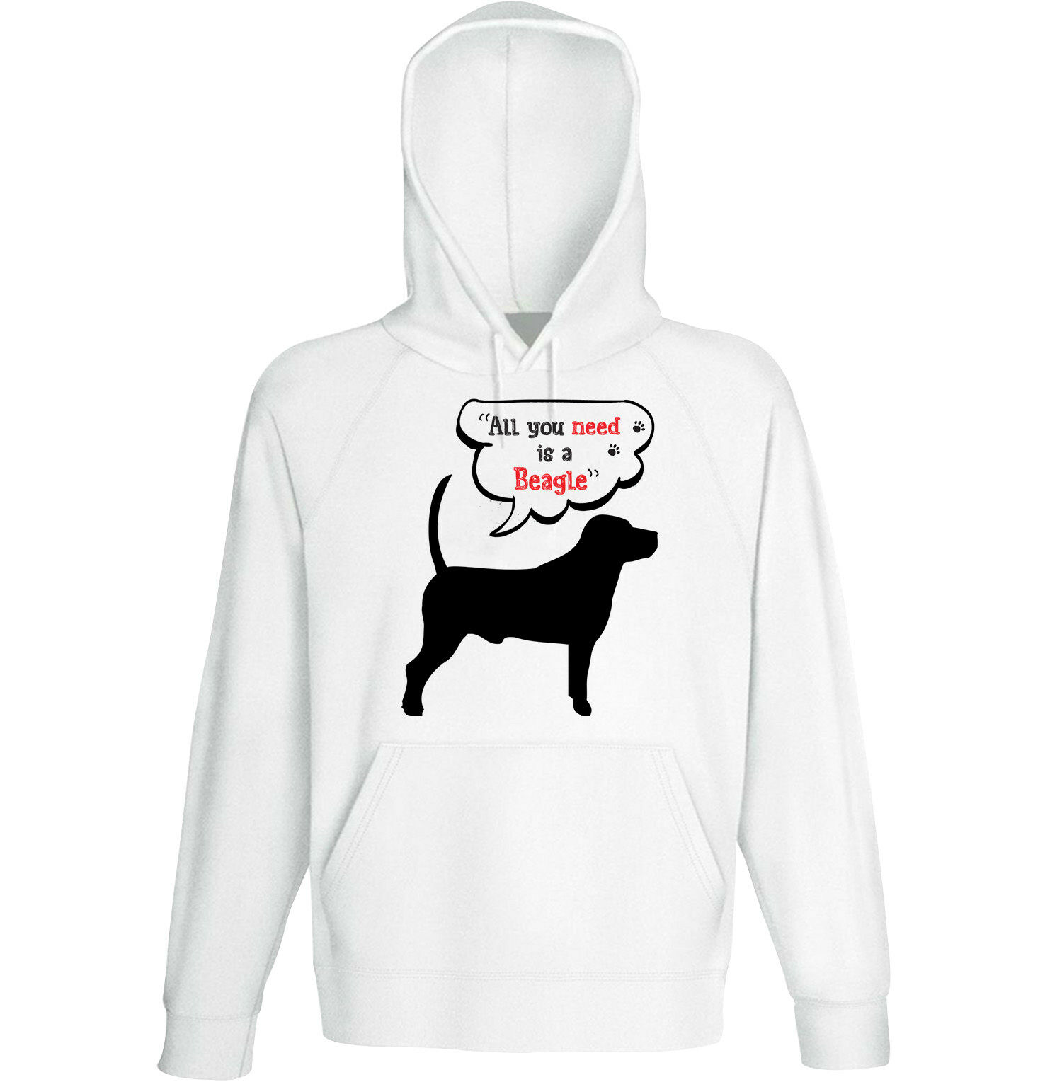 Beagle p all you need - NEW COTTON WHITE HOODIE