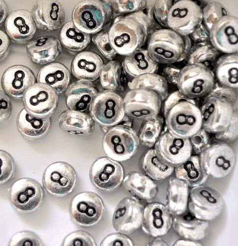 100 pcs silver flat round single and mixed numbers 0-9 acrylic beads 7 mm