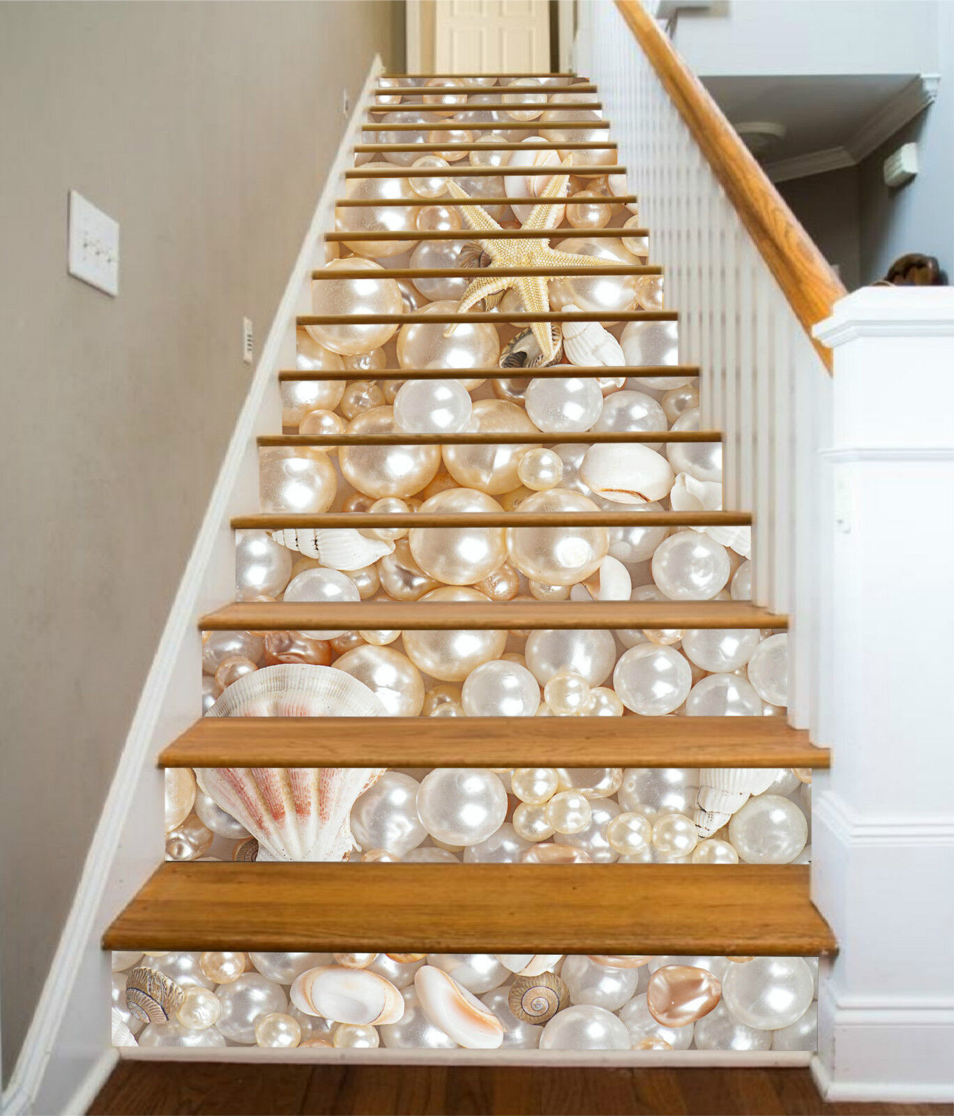 3D Perle Schale 357 Stair Risers Dekoration Fototapete Vinyl Aufkleber Tapete DE