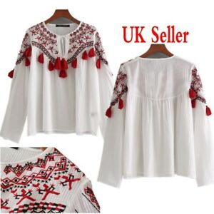 5277f901b8d7cc UK Womens Retro Floral Embroidered Tops Tassel T Shirts Mesh Sheer ...