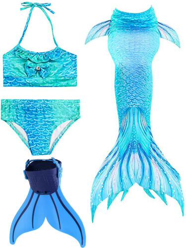 4pcs Girls Tops Mermaid Tail Swimming Suit with Mono Fin Swimming Wear Cosplay