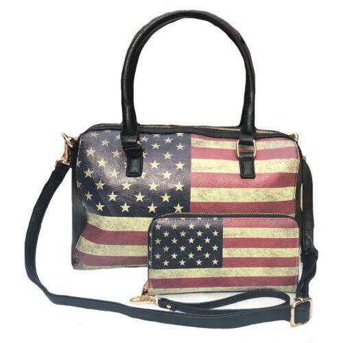 USA Flag Tote Satchel Handbag Wristlet Gift Set for Women Wife Mom Girlfriend