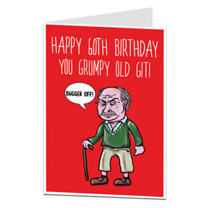 Image Is Loading Funny Happy 60th Birthday Card 60 Today Rude