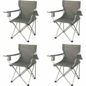 Folding Camp Chair Ozark Trail Classic Set Of 4 Grey Cup Holder BBQ Picnic Party