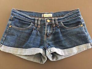 sbiadito da Pantaloncini 8 donna in scuro cotone blu arrotolato jeans di taglia corto wOqT4