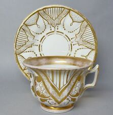 Biedermeier Tasse, Krister Porzellan Manufaktur, Schlesien ,Gold geschmückt -