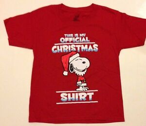 image is loading peanuts snoopy christmas shirt m 8 l 10 - Snoopy Christmas Shirt