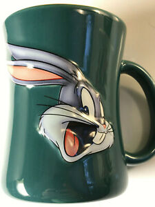 Bugs-Bunny-Looney-Tunes-Mug-Coffee-1999-Ceramic-Green-3D-Embossed