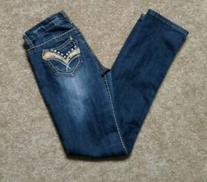 Antique-Rivet-Size-26-Straight-Leg-Stretch-Denim-Blue-Jeans-Stud-Studded-Relaxed