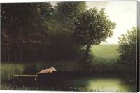 Diving Pig Canvas By Michael Sowa Gallery Wrapped Stretched With Brushstrokes