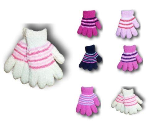 Girls Kids Children Winter Warm Fluffy Terry Stripy Gloves 4-5 Years 6-7 Years