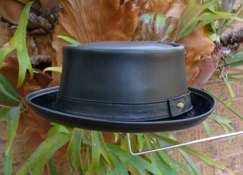 BLACK LEATHER ENGLISH MEN'S & WOMEN'S PORK PIE JAZZ SKA HAT VINTAGE STYLE