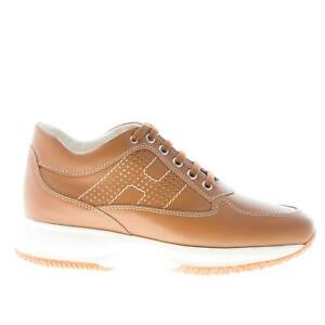 Image is loading HOGAN-women-shoes-Interactive-brown-unlined-leather-sneaker - 69fbee3edbc