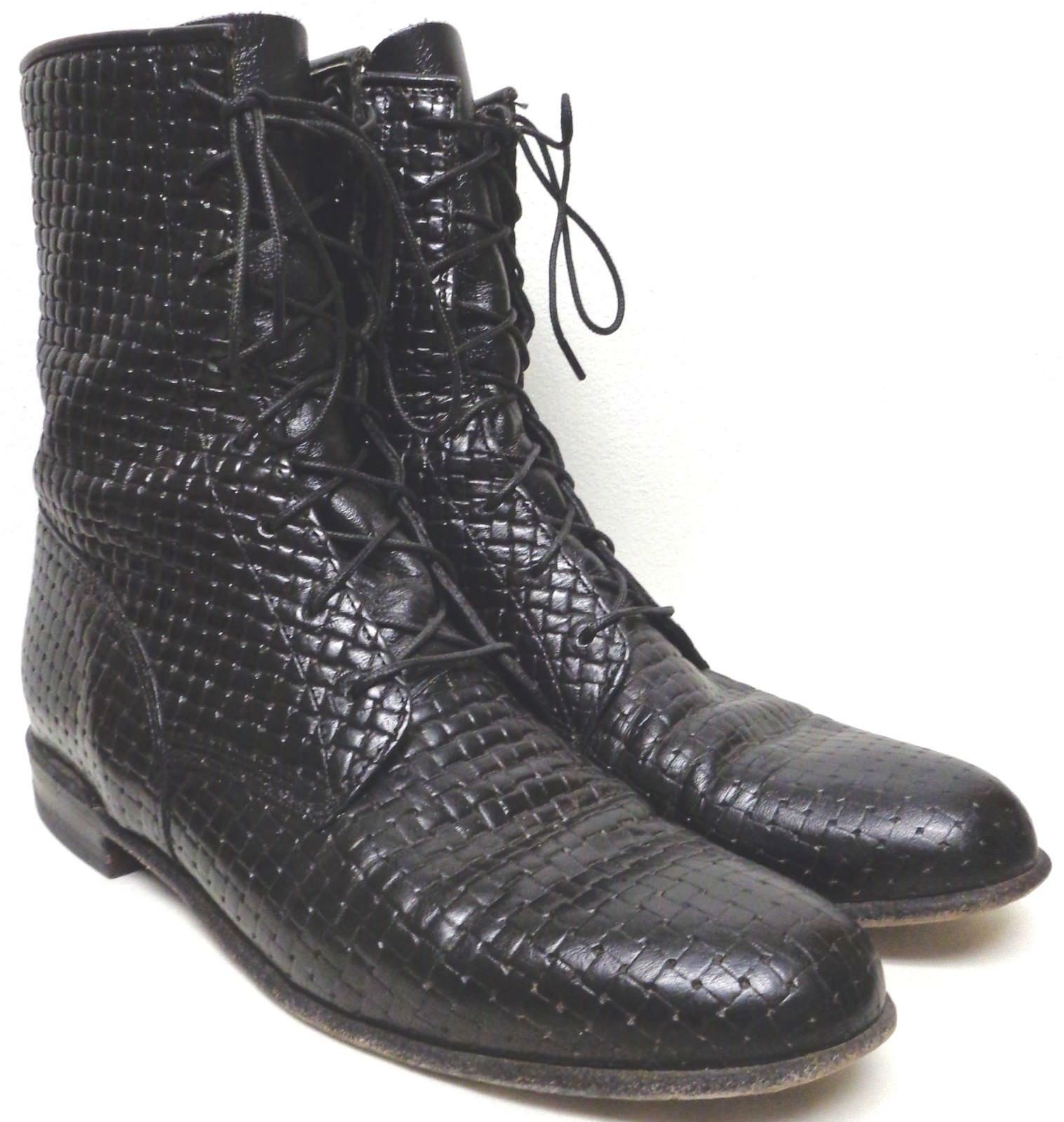 VINTAGE JUSTIN BLACK WOVEN LEATHER LOOK LACE UP WORK BOOTS 1990's AMAZING SZ 6B