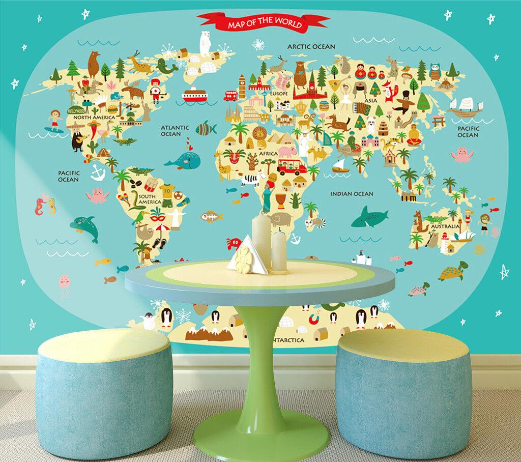 3D Karikatur Karte Ozean 9863 Tapete Wandgemälde Tapeten Bild Familie DE Jenny
